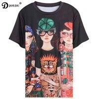 Joydu 2018 Harajuku verano Top Camisetas Tees Runway diseño de manga corta 3 Niñas Tiger cabezal de impresión floja elegante camiseta femenina