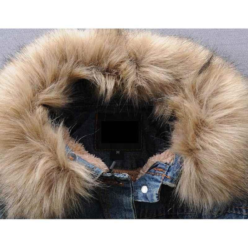 2018 новая зимняя рваная джинсовая куртка мужская одежда джинсовая куртка мужская повседневная куртка Верхняя одежда с меховым воротником шерстяные толстые флисовые куртки