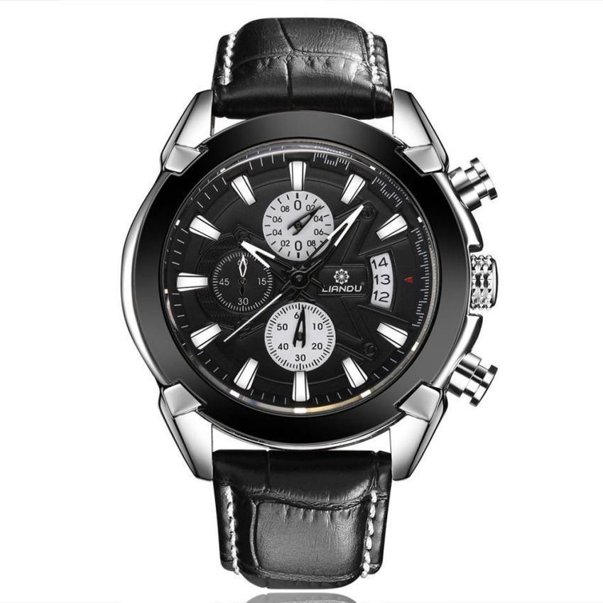 Hot Product Luxury Fashion Leather Mens Glass Quartz Analog Wristw reloj hombre bayan kol saati relojes hombre 2018 relogio