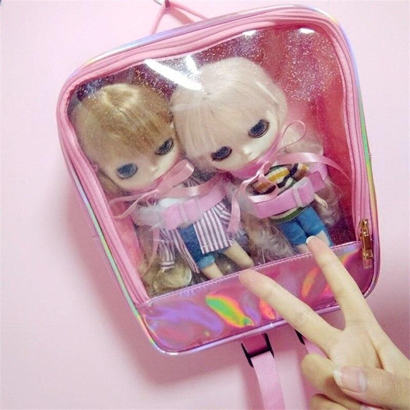 Doux Lolita Transparent Laser mignon poupée Itabag sac à dos sacs d'école fille japonaise étudiant Blingbling voyage sac à dos