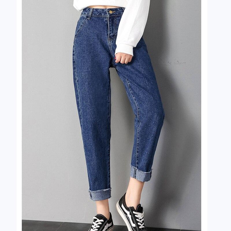 12524cec7 JUJULAND 2018 ropa de otoño señoras de cintura alta Mujer novio Jeans para  mujeres pantalones vaqueros rasgados de mezclilla Mujer talla grande