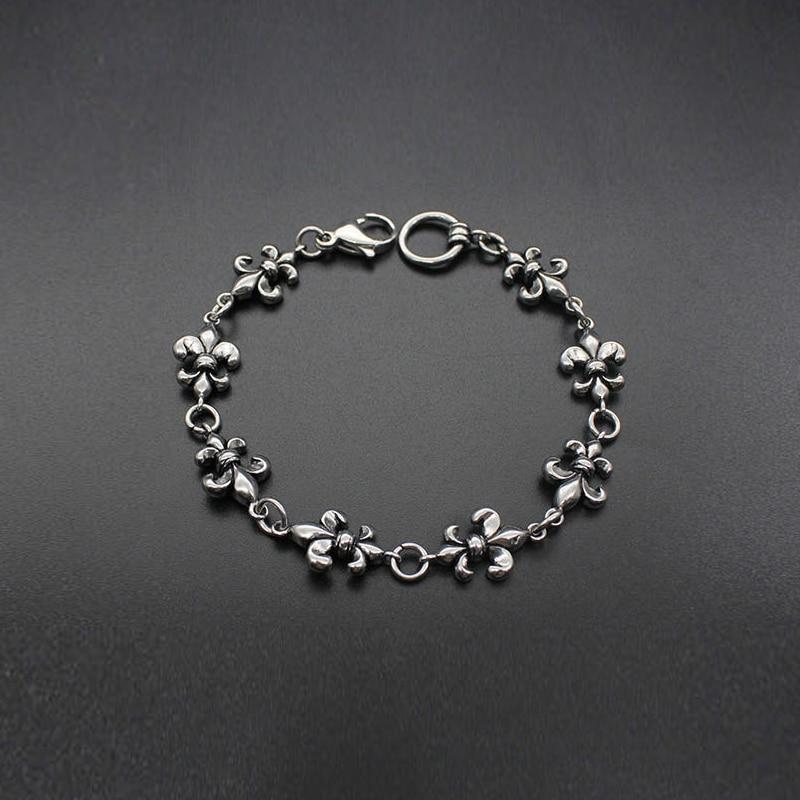 Retro Stainless Steel Bracelet Women Lily Flower Titanium Jewerly Men Ethnic