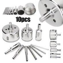 10 Stuks Diamond Coated Drill Bit Core Hole Saw Set Boren Bits Tegel Marmer Keramische Hole Saw Boor Voor power Tools 3-50 Mm