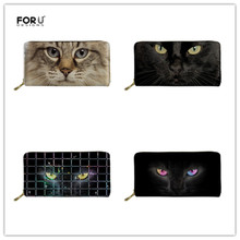FORUDESIGNS Brand Wallets Women Fashion Black Cat Printing Phone Card Holder for Femme Long PU Leather Purse Girls Money Bag