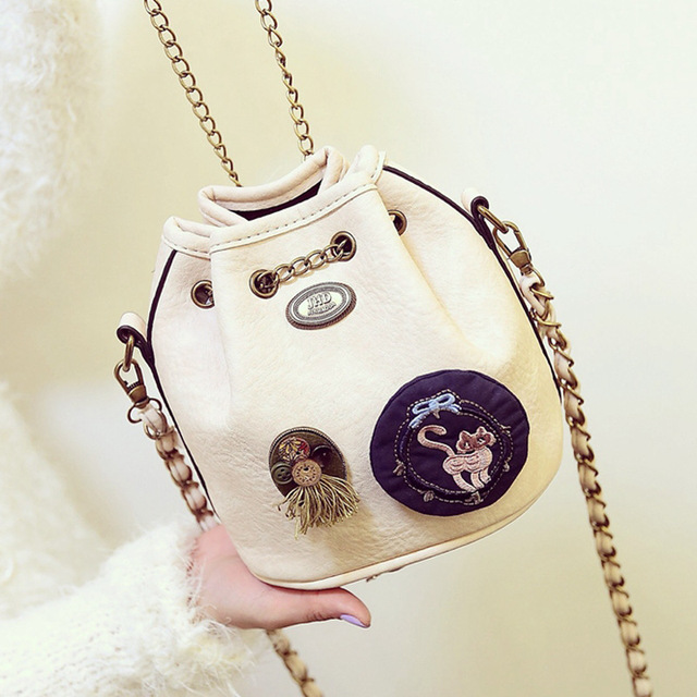 Fashion Chain Bucket Bag Summer 2017 Female Messenger Bags Badge Single Leather Shoulder Bag Mini Small Cute Bag