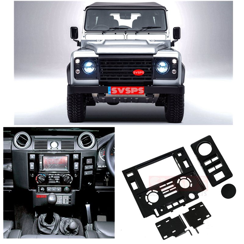 Svsps black pearl parts Car styling Tuning Interior Parts Double Din Fascia Kit for Land Rover for Defender 2007-2018 year image