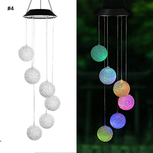 9 kinds of Solar Light Outdoor Powered LED Wind Chime Color Change Spiral Wind Chime Outdoor Light Decorative Garden Light