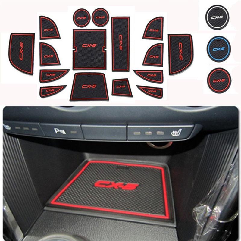 16pcs For Mazda CX-5 CX5 2013 2014 Vehicle Door Slot Pad Gasket Cup Mat Anti-slip
