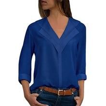 2019 Women Blouses Solid Long Sleeve Girl Shirts Elegant Fashion V-Neck Chiffon Shirt Office Ladies Plain Roll Sleeve Blouse Top стоимость