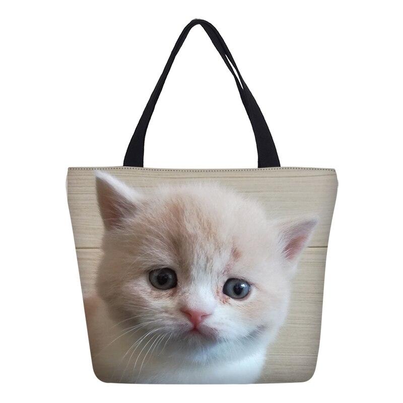 Hynes Eagle Brand Designer Cute Cat Prints Women Hangbags Fashion Canvas Shoulder Tote Shopping Bags Beach Bag Messenger Bags