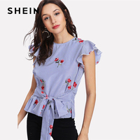 SHEIN Blue Tie Waist Bow Embroidered Striped Top Casual Round Neck Cap Sleeve Ruffle Women Blouse