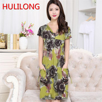 Free Shipping 2017 New Arrival Elderly Women S Summer Dress Middle Aged Mother Large Size Short