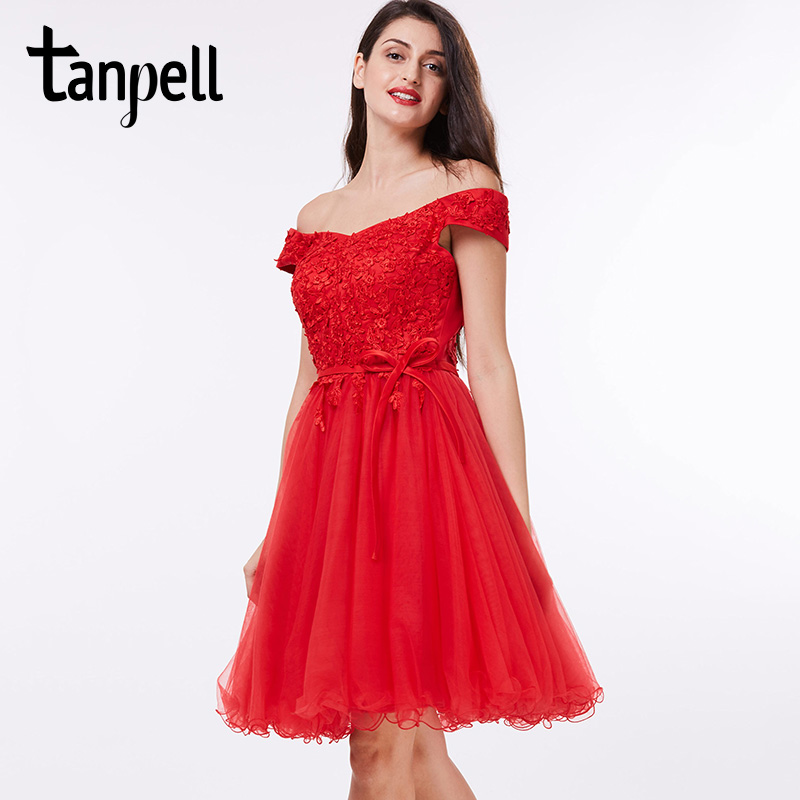 Tanpell off the shoulder cocktail dress black knee length beaded a line dress cheap sweet 16 short lace red cocktail dresses