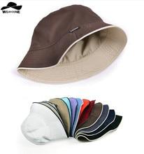 2016 llanura cubo sombreros hombres reversible dos lados puede llevar 100%  algodón sol bob tapa cómodo chapeu pescador sombrero 3dd9c5f4396