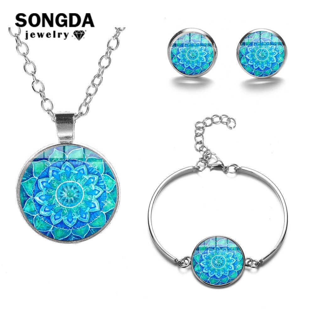 SONGDA Винтажный Индийский кулон «Мандала» наборы богемные узоры Кристалл Стекло серебряный цвет ожерелье серьги браслет набор украшений