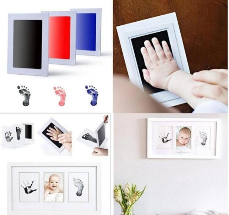 Baby Care Non-Toxic Baby Photo Frame DIY Handprint Footprint Imprint Kit Baby Souvenirs Casting Clay Print Newborn Ink Pad Toys