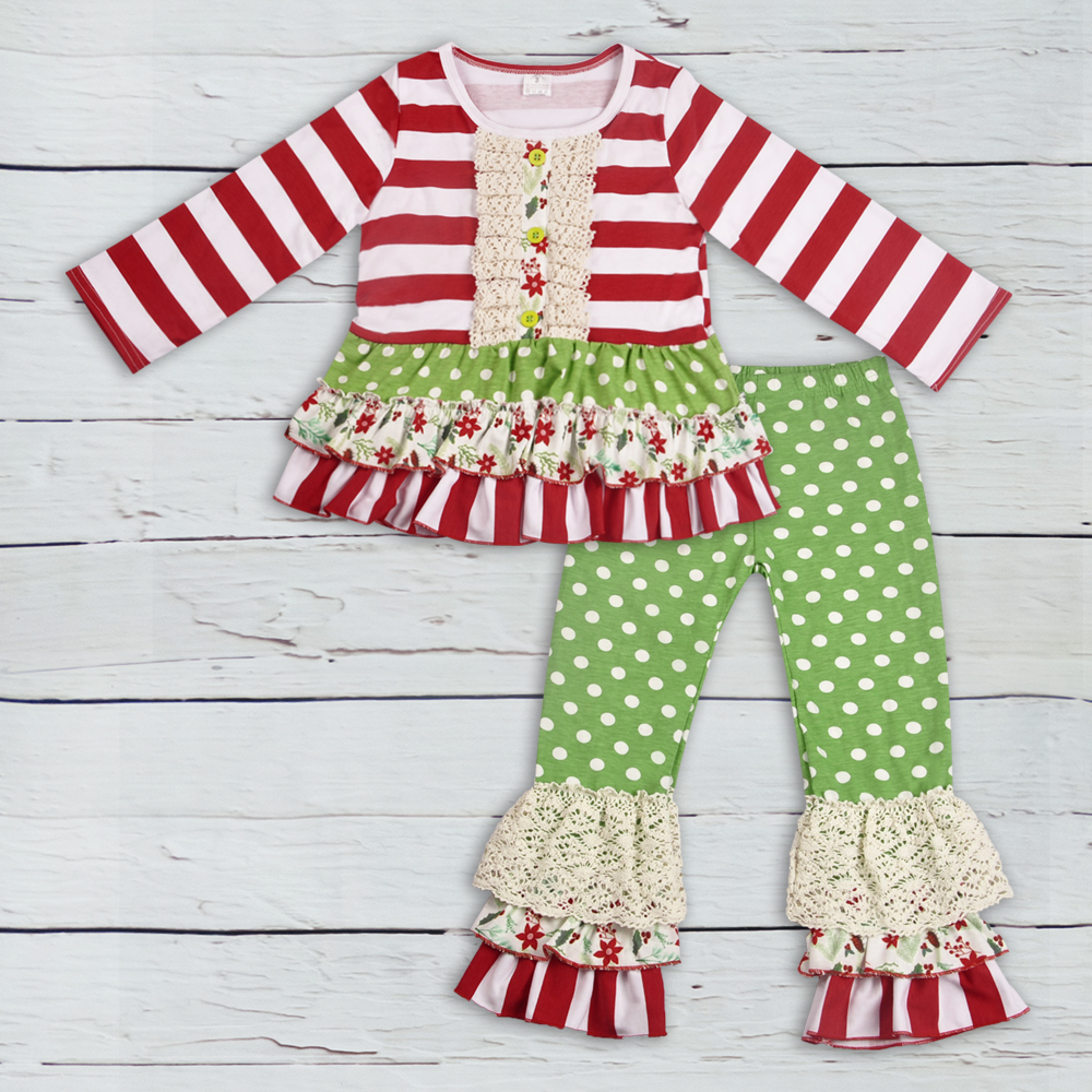 все цены на Factory Direct Sale Girls Christmas Outfits Cute Red Stripes Top Green Polka Dot pants Kids Boutique Remakes Knitted Set F204