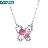 Thomas Style 925 Sterling Silver Pink Blue Butterfly Crystal Pendants Necklaces For Women 2018 New Fashion Jewelry Gift Bijoux