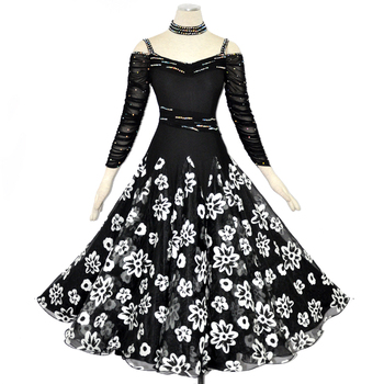 Lady Customized Ballroom Dance Dress Girls Waltz Tango Dancing Dresses Female Standard Flamenco Dress Ballroom Costumes D-0392