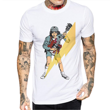 New Arrivals Cartoon Guitar Playing Printed Men T-Shirt Short Sleeve Male T Shirt Casual Tops Tees Shirts Mens Fashion