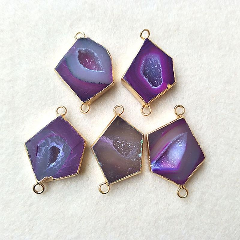 5 шт., коннектор из натурального фиолетового оникса Agat e Druzy Geode Pentagon, для самостоятельного изготовления браслетов, ожерелий, ювелирных издели...