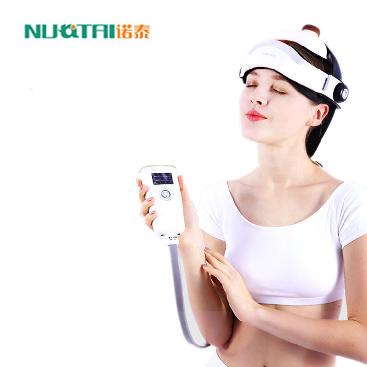 ФОТО new electric head massager airbag brain relaxing instrument with music adjustable size kneading and pressing acupuncture