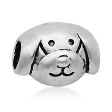 New Arrivals Silver Cute Animal Dog Head Bead Metal Charms Fit Original Pandora Bracelets handicrafts for costume jewelery(China)