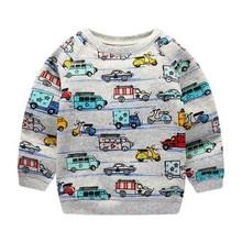 Children Clothing Long sleeve Sweatshirt Birthday Gift Sleeve Cartoon Car Print Baby Kids Boy Girls
