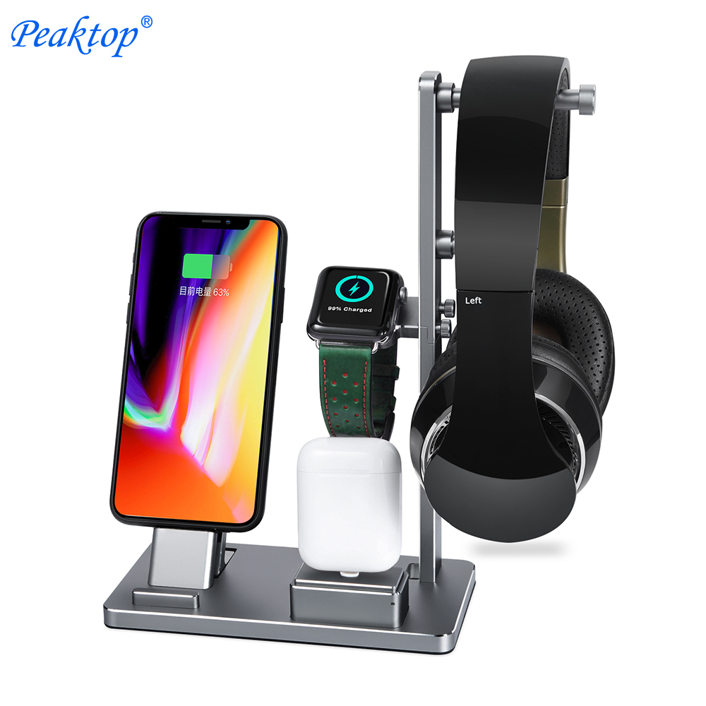 Peaktop Charging Dock Stand Station Porte pour Casque AirPods IPad Apple Montre iWatch Série 1 2 3 iPhone 10X8 7 6 6 S Plus