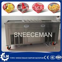 double pan fried ice roll pan machine stainless steel 45cm pan fried frying ice cream machine with salad fruit workbench 10pcs