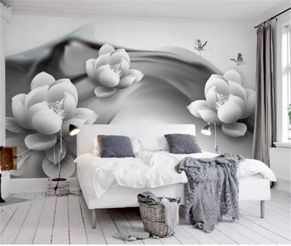 Купить с кэшбэком Custom Photo 3d Wallpaper Black And White Ink Lotus Butterfly Simple 3d Living Room Home Decor Living Room Wall Covering