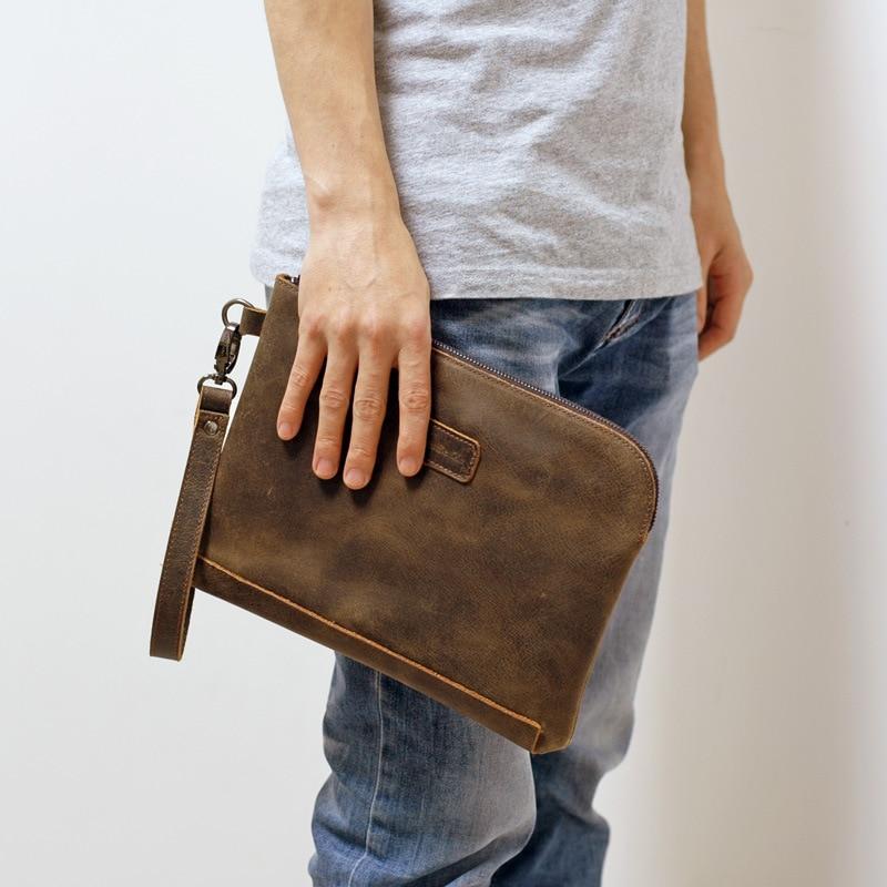 1 Free Shipping Handmade Crocus Mens Handbags Business Mens Handbags Top Layer Cowhide High Capacity Practical Mens Wallets