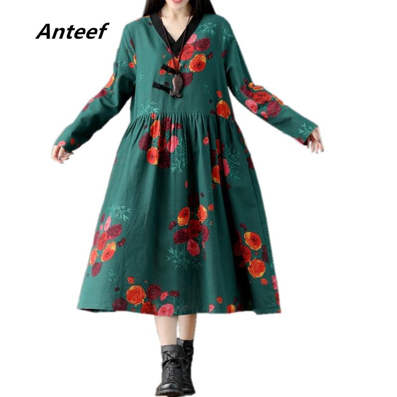 0667dc04379 Anteef red cotton linen plus size vintage floral print clothes women casual  loose long spring autumn