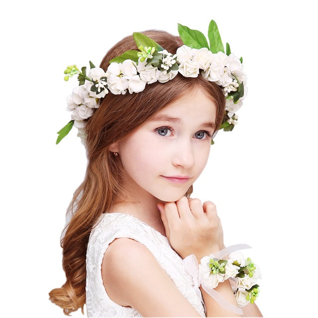 2pc set Women Wedding Decoration Rose Flower Girl Hair Wreath Floral  Headband Head Wreath Flower 7a996e8c7ea