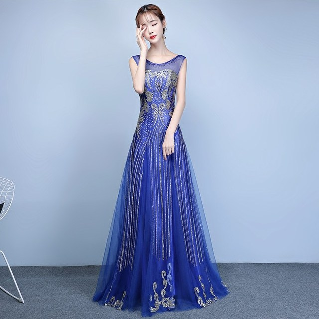 Royal Blue Champagne Gorgeous Party Dress Tulle Bling Elegant Long Evening Gowns 2018 New Backless Y