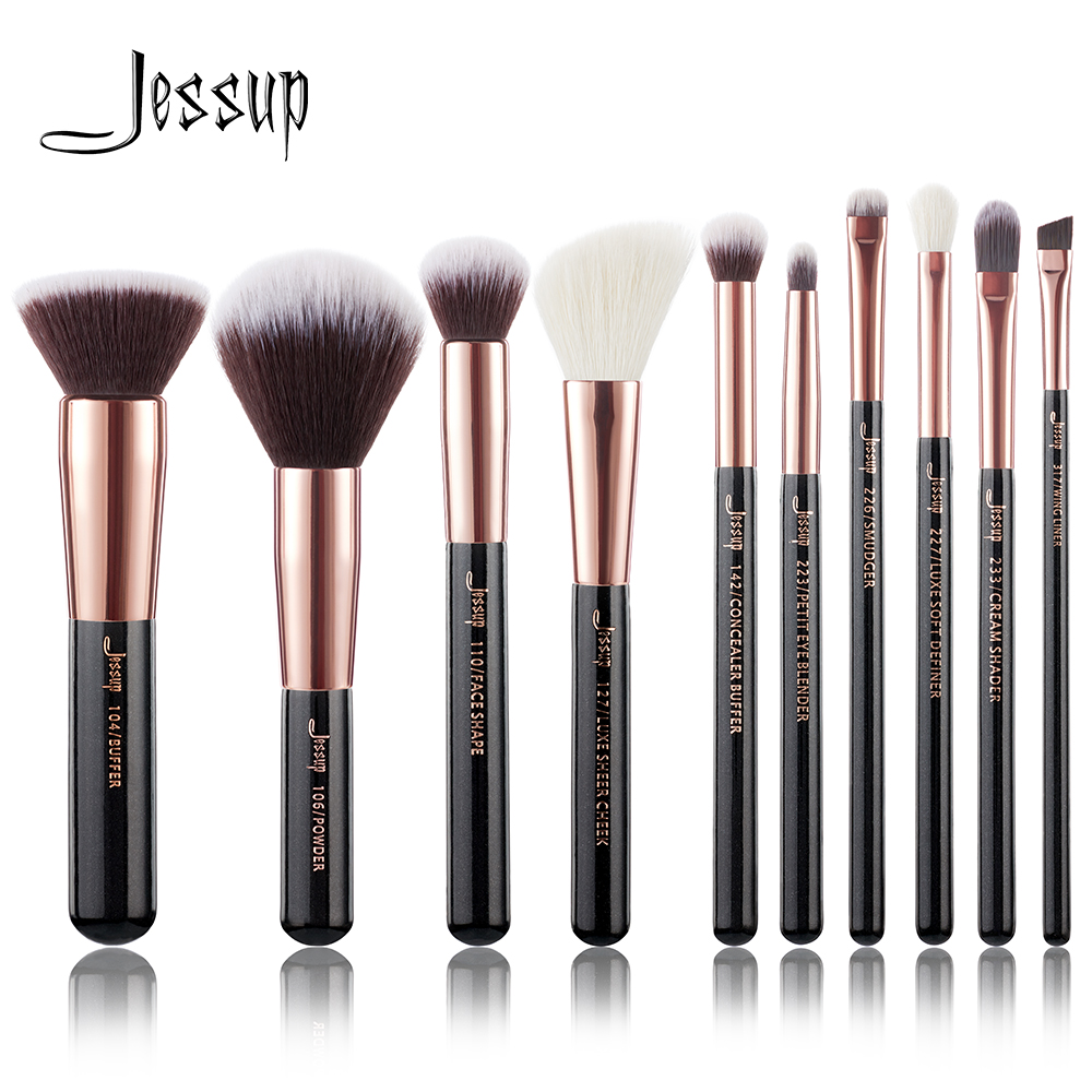 Jessup brushes Black/ Rose Gold Professional Makeup Brushes Set Make up Brush Tools kit Foundation Powder Buffer Cheek Shader msq 10pcs rose gold balck professional makeup brushes set powder foundation concealer cheek shader make up tools kit