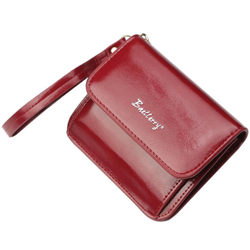 Baellerry 2018 new style womens fashion Oil wax leather short section wallets with handle strap,female coin purse