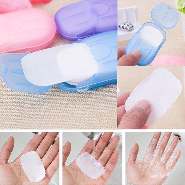 20 unids/bolsa Mini desechable lavado jabón de mano de papel caja de espuma caja de cuidado de la piel de viaje conveniente maquillaje eliminación para uñas TSLM2