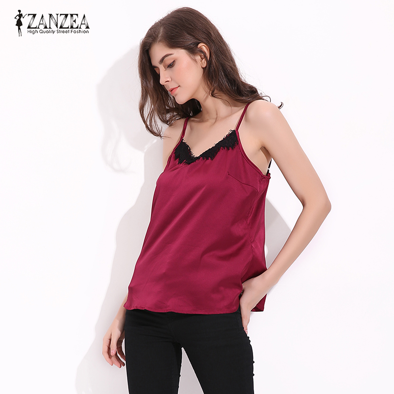6 Colors 2018 ZANZEA Spaghetti Strap Sexy Tops Women Lace Trim Sexy V Neck Sleeveless Summer Camis Femininas Backless Tank Tops