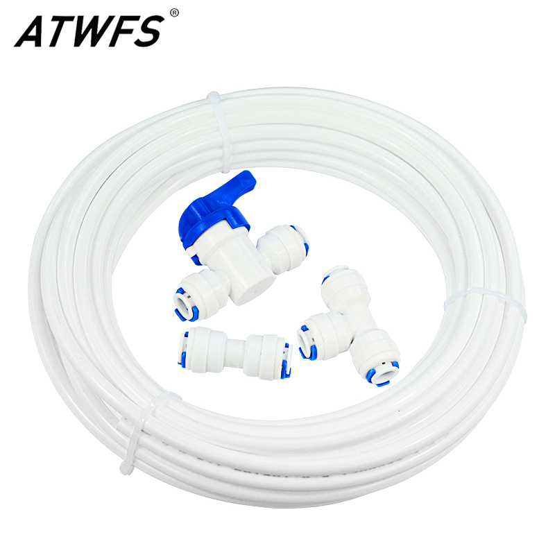 ATWFS Water Refrigerator Kit Ice Maker for Reverse Osmosis RO System and Water Filters Parts 10 Meter Pipe and ConnectorsWater Filter Parts   -