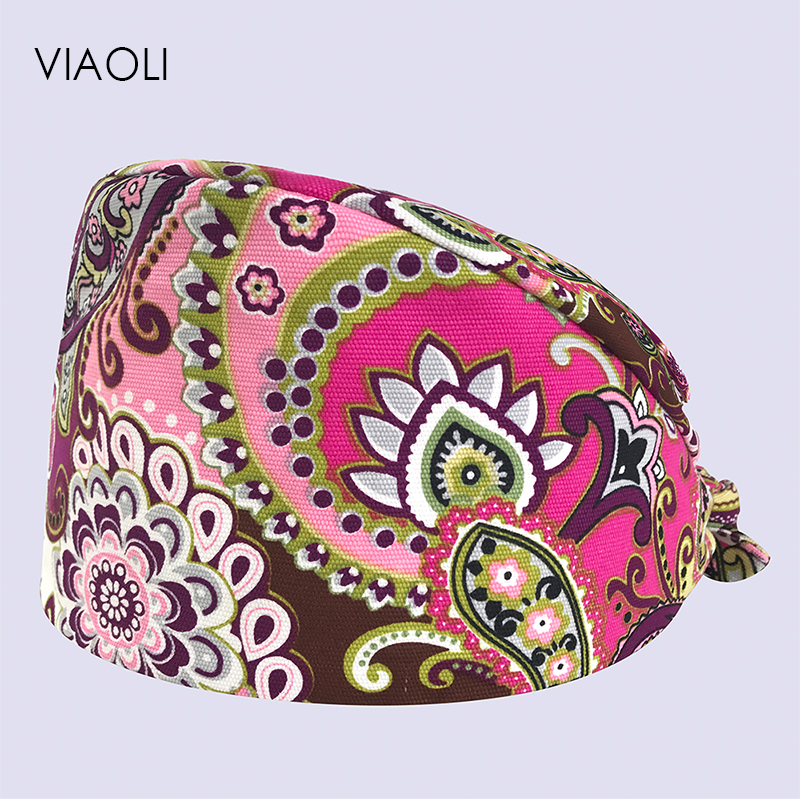 Viaoli Surgical Print Hat Cotton Operating Room Hat Men And Women Doctors And Nurses Working Caps Turban Printing Dentist Caps