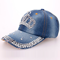 2016 Fashion Manual Drill Big Crown Pattern Denim Baseball Caps Girls Shining Hats Women's Good Quality Cap Free Shipping SY542