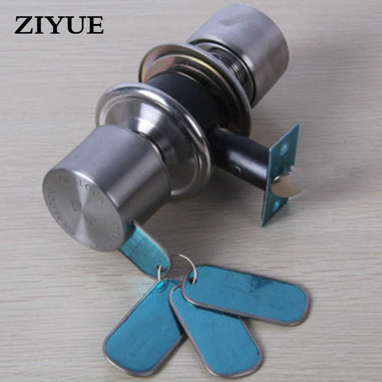 Free Shipping Hotel Hotel Stainless Steel Luxury Magnetic Card Spherical Lock / 360 Empty Indoor Door Locks Hardware rfid t5577 hotel lock stainless steel material gold silver color a test t5577 card sn ca 8006