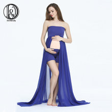 (170 cm) Vestido Maxi maternidade Boob Tubo No Topo com Shorts Tamanho Livre Dividir Frente Chiffon Para Adereços Fotografia Vestido(China)
