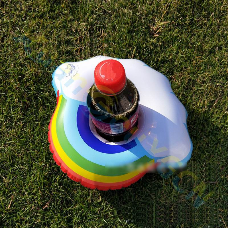 800pcs Rainbow clouds Inflatable Drink Holders Floating Toy Pool Party Bath drinking cup Seat Boat Kids Water Swimming tool toy
