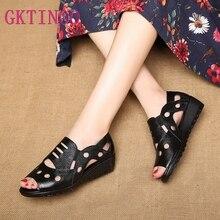 GKTINOO sandalias de gladiador con punta abierta y estilo romano para mujer, zapatos planos de cuero de vaca auténtico, suela suave, antideslizantes, para verano