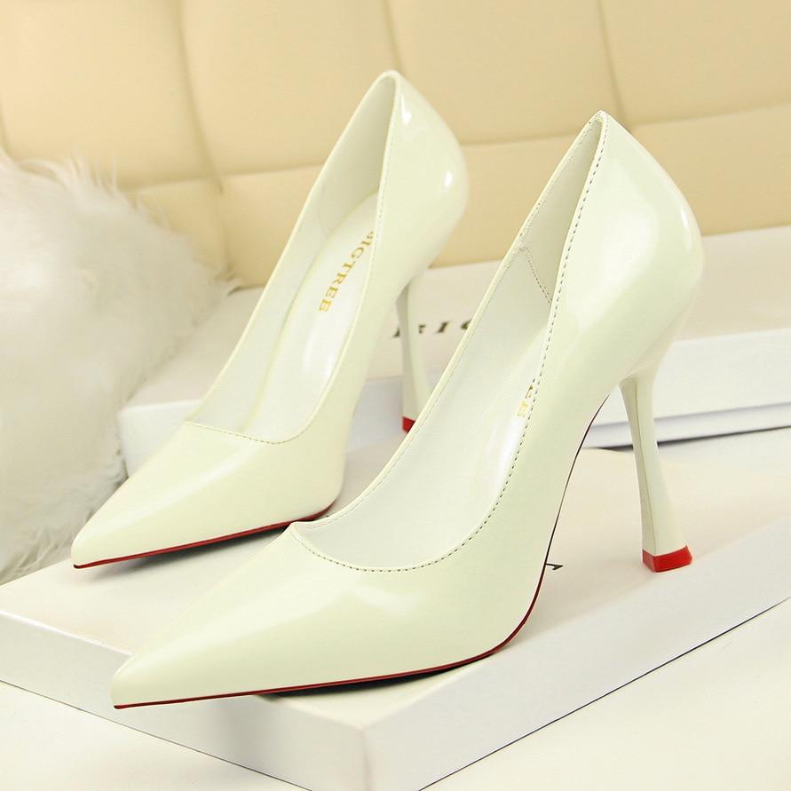 Talons Profonde Beige Ultra Cuir Sexy Mince blanc Pointu noir De rouge argent Avec Peu Mode Chaussures Simples Femmes Simple Verni rose Haute Bouche 80wvmNn