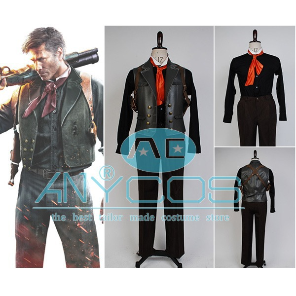 Bioshock Infinite 2 Booker DeWitt Uniform Suit Movie For Adult Men Halloween Cospaly Costume Full Set Free Shipping