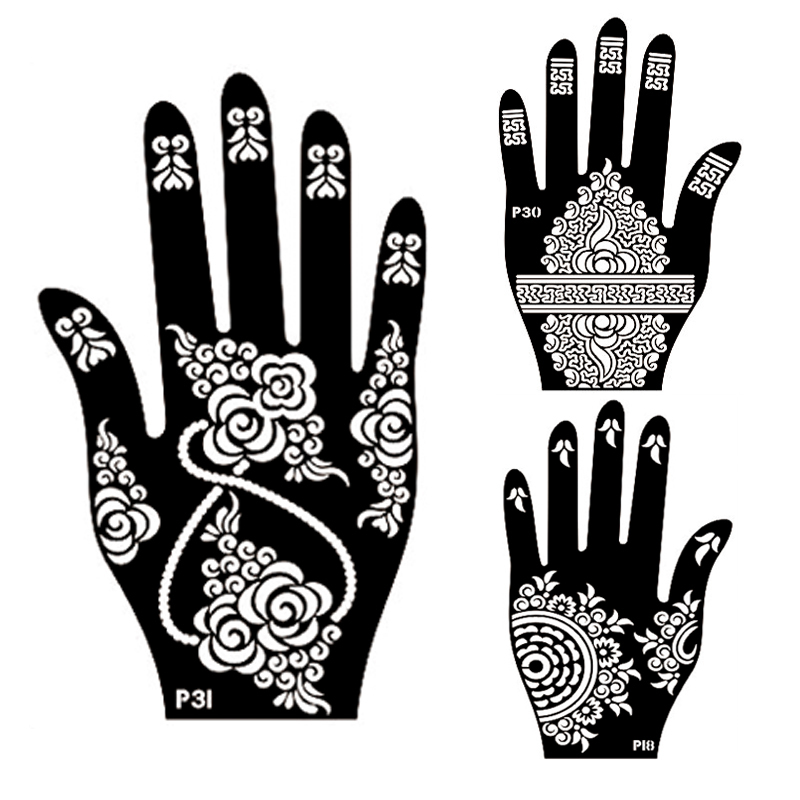 10Pcs Lot Henna Flower Hand Tattoo StencilIndian Glitter Airbrush Large Template Stencil For Painting In Stencils From Beauty