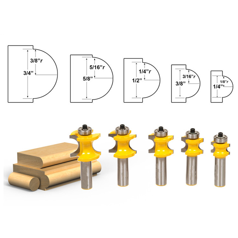 5pcs 1/2 Shank Half Round Tenon Bullnose Router Bit 3/8 5/16 1/4 3/16 1/8 Woodworking Milling Cutter Tools round up 1 2 3